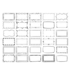 hand drawn line photo frame borders set vector image vector image