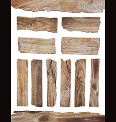 Old Wood plank isolated on white vector image vector image