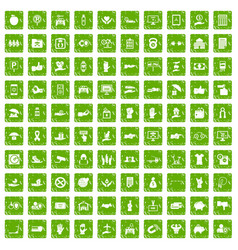 100 hand icons set grunge green vector image