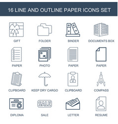16 paper icons vector image