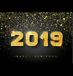 2019 happy new year gold numbers design of vector