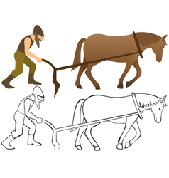 2287 Plowman and horse with plow vector image