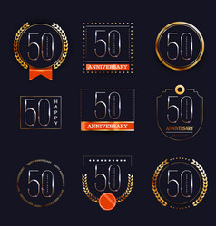 50 years anniversary logo set vector