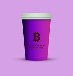 a coffee cup with a bitcoin emblem vector image