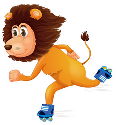 a lion ice skating vector image