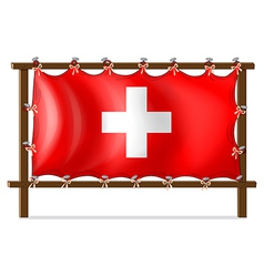 A wooden frame with the flag of Switzerland vector image