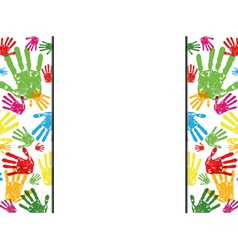 abstract hand prints background vector image vector image