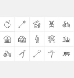 agriculture hand drawn sketch icon set vector image