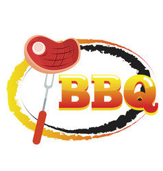 bbq steak on fork circle background image vector image