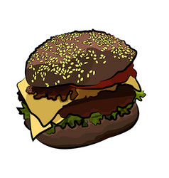 Big colorful burger on white vector