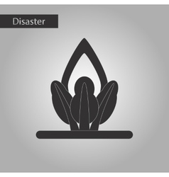 Black and white style icon fire in the forest vector