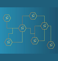 Blockchain stellar style on blue background vector