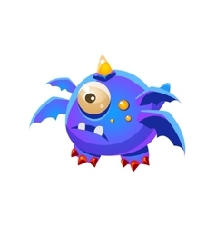 Blue Fantastic Friendly Pet Dragon With Four Wings vector