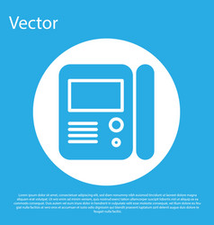 Blue house intercom system icon isolated on blue vector