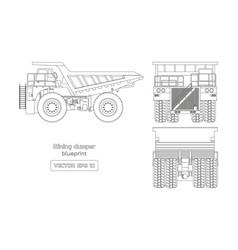 Blueprint of mining dumper on white background vector