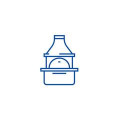 brick grill line icon concept brick grill flat vector image