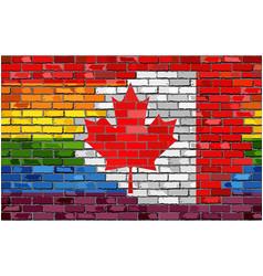 brick wall canada and gay flags vector image