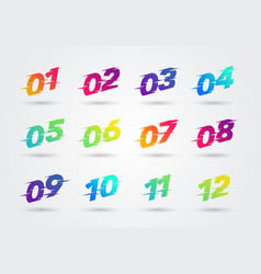 bullet points numbers with glitch effect vector image