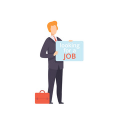 business man holding placard with looking for a vector image