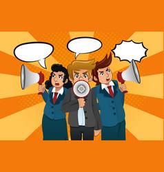businesspeople with megaphones vector image