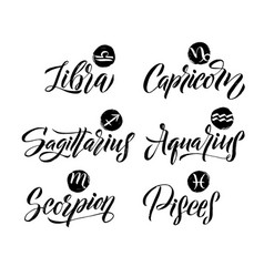 Calligraphy zodiac signs set hand drawn horoscope vector
