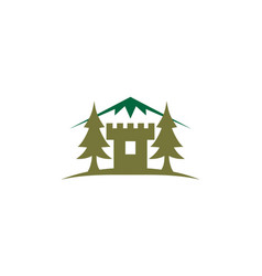 Castle mountain and pine tree vector