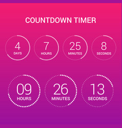 Circle countdown clock counter timer on gradient vector