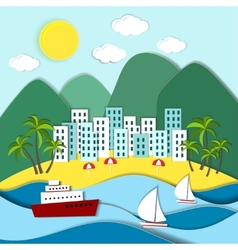 Coastal town with green mountains vector image vector image