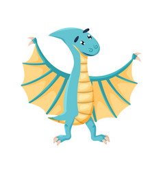 Comic cute winged dinosaur pterodactyl isolated vector