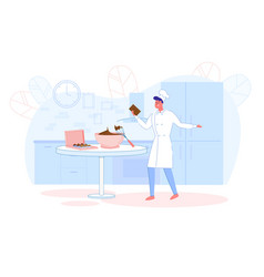 confectioner making chocolate homemade sweets vector image