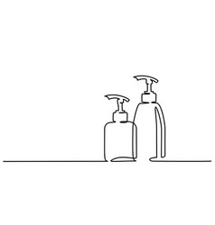 Cosmetic shampoo bottles continuous one line draw vector