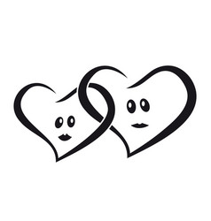 Couple of lovers hearts man and woman together vector