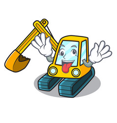 crazy excavator mascot cartoon style vector image