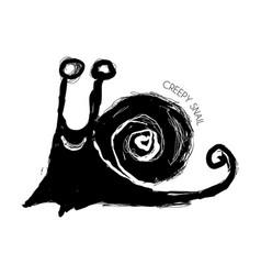 Creepy grunge snail vector