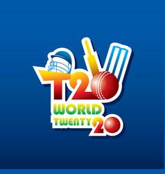 Cricket twenty twenty world cup poster design vector