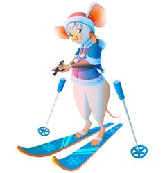 Cute cartoon mouse woman skiing character symbol vector
