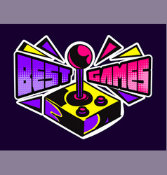 Cute game logo patch with best games lettering vector