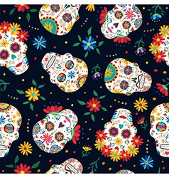 Day dead floral skull pattern background vector