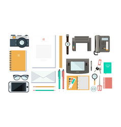 designer workplace with tools organization of vector image