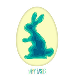 easter egg and silhouette of rabbit carved out of vector image