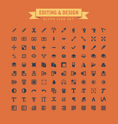 editing and design glyph icon set vector image