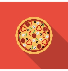 Flat pizza icon with long shadow vector