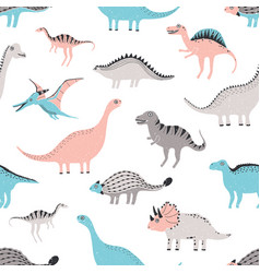 Funny dinosaurs seamless pattern cute childish vector