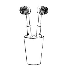 glass with two electric toothbrush in monochrome vector image