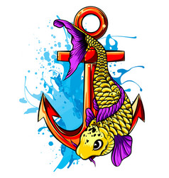 gold fish carassius auratus fresh water vector image
