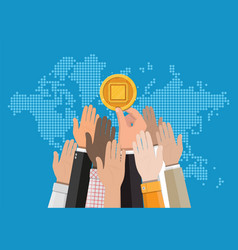 Golden coin with computer chip in hand vector