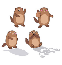groundhog set 2 cartoon outlines vector image