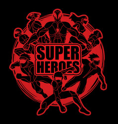 Group of super heroes action vector
