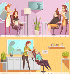 Hair salon horizontal cartoon banners vector