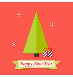 Happy New Year Card with Green Christmas Tree over vector image